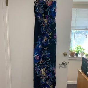 Strapless Blue/Floral Maxi Dress